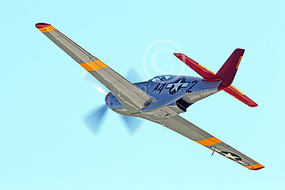 WB - North American P-51 Mustang 00156 An in-flight Tuskegee Airmen North American P-51 Mustang World War II era fighter, by Peter J Mancus