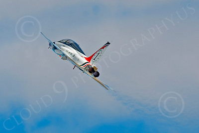 WB - T-38 00004 Northrop T-38 Talon in USAF Thunderbird markings zooms up and turns, by Peter J Mancus