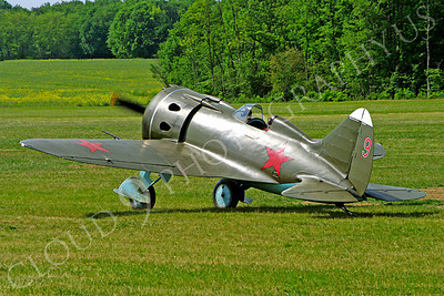 WB - Polikarpov I-16 00012 A World War II era Polikarpov I-16 warbird fighter plane in Soviet markings taxis on a grass field, by Stephen W D Wolf