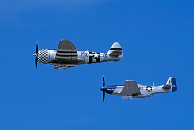 WB - 00050 Republic P-47 Thunderbolt and North American P-51 Mustang US Army Air Force by Stephen W D Wolf