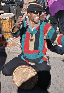 One of the drummers performing on the MLK Day parade route in Denver.