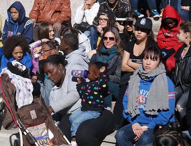MLK Day marchers listen to speakers.