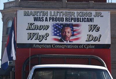 Republican/conservative sign on display on a truck on the MLK Day parade route in Denver.