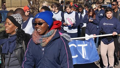 Students from the Wyatt Acadamy march in the MLK Day parade in Denver.