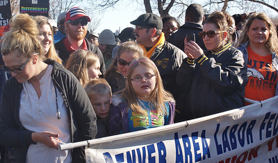 Union members and families prepare to march on MLK Day in Denver.