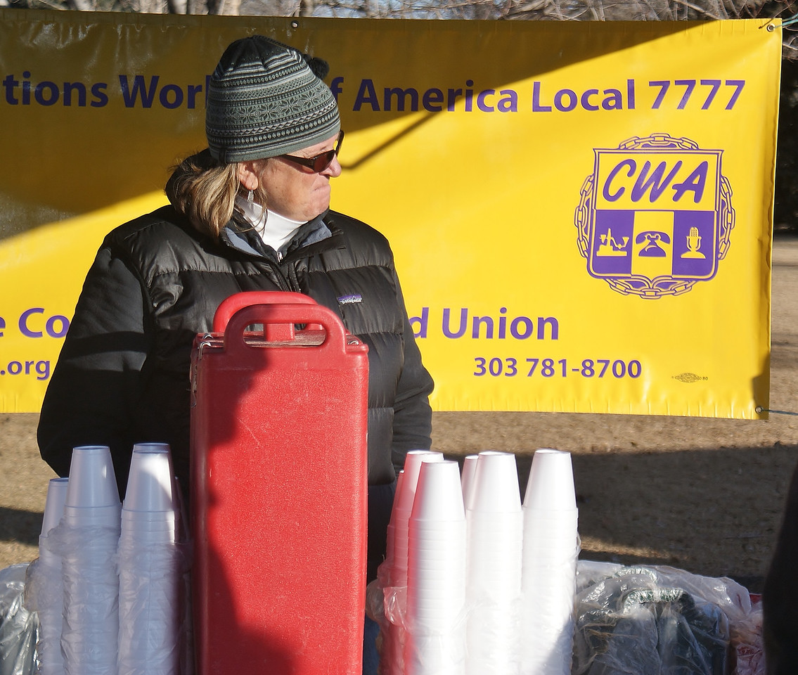 CWA union member staffing coffee booth.
