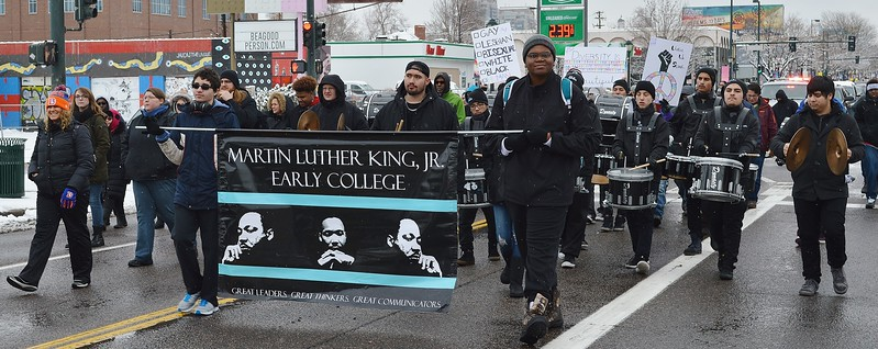 Members of a marching band in MLK Day parade.