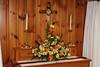 Flowers on the parish hall altar.