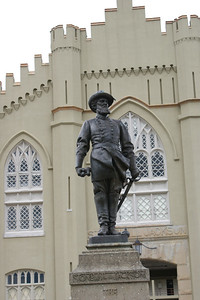 Stonewall Jackson's statue outside the barracks at VMI. Photo by Allissa Weber.