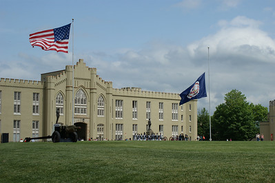 VMI Barracks and parade ground. You can see the Stonewall Jackson Statue in the center of the photograph. May 2009. Photo by Allissa Weber.