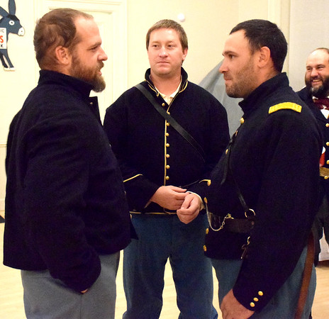 Civil War re-enactors portraying members of the Fifth Illinois Cavalry participated in Saturday's 1872 Courthouse Celebration and Civil War Era Grand Ball held at the Effingham County Center and Museum in downtown Effingham.  Pictured from left, to right, Jason Shellenbarger, Tim Morecraft and Blake Sponsel. Charles Mills photo