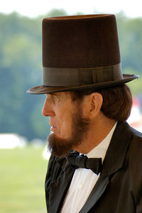 Stock image of United States President Abramham Lincoln reenactor at the American Civil War reenactment of Morgan's Raid on Georgetown, Kentucky.  Lincoln was the 16th president of the United States who served during the war.