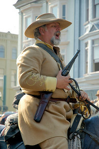 Stock image of reenactor at the American Civil War reenactment of Morgan's Raid on Georgetown, Kentucky.  This was to commemorate Brigadier General John Hunt Morgan's cavalry raid by the Kentucky Brigade of the Confederate Army of Tennessee on the town in 1862 and subsequent two day battle with Federal troops.
