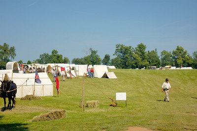 Stock image of tent encampment at the American Civil War reenactment of Morgan's Raid on Georgetown, Kentucky.  This was to commemorate Brigadier General John Hunt Morgan's cavalry raid by the Kentucky Brigade of the Confederate Army of Tennessee on the town in 1862 and subsequent two day battle with Federal troops.