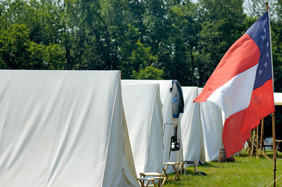 Stock image of Confederate tent encampment at the American Civil War reenactment of Morgan's Raid on Georgetown, Kentucky.  This was to commemorate Brigadier General John Hunt Morgan's cavalry raid by the Kentucky Brigade of the Confederate Army of Tennessee on the town in 1862 and subsequent two day battle with Federal troops.