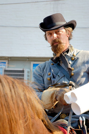 Stock image of reenactor for Confederate Brigadier General John Hunt Morgan during an American Civil War reenactment of Morgan's Raid on Georgetown, Kentucky.  This was to commemorate Morgan's cavalry raid by the Kentucky Brigade of the Confederate Army of Tennessee on the town in 1862 and subsequent two day battle with Federal troops.
