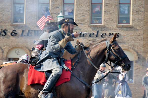 Stock image of American Civil War reenactment of Morgan's Raid on Georgetown, Kentucky.  This was to commemorate Brigadier General John Hunt Morgan's cavalry raid by the Kentucky Brigade of the Confederate Army of Tennessee on the town in 1862 and subsequent two day battle with Federal troops.