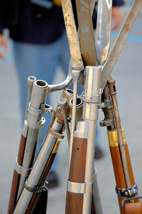 Stock image of stacked rifles at the American Civil War reenactment of Morgan's Raid on Georgetown, Kentucky.  This was to commemorate Brigadier General John Hunt Morgan's cavalry raid by the Kentucky Brigade of the Confederate Army of Tennessee on the town in 1862 and subsequent two day battle with Federal troops.