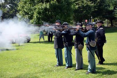 61ST NY Regiment seen firing off their rifles at bthe Civil War Encampment, held at the Havens Homestaed Museum, in Brick, NJ on 08/04/2019. (STEVE WEXLER/THE OCEAN STAR).