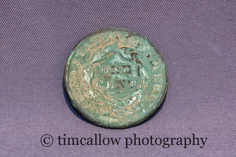 Civil War one cent pieces found at a Union camp near Frederick, Md.