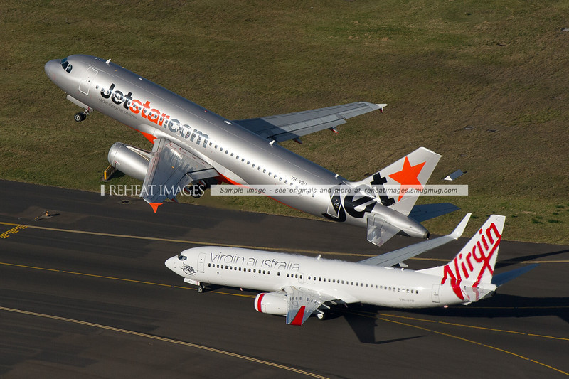 Jetstar Airbus and Virgin Australia Boeing