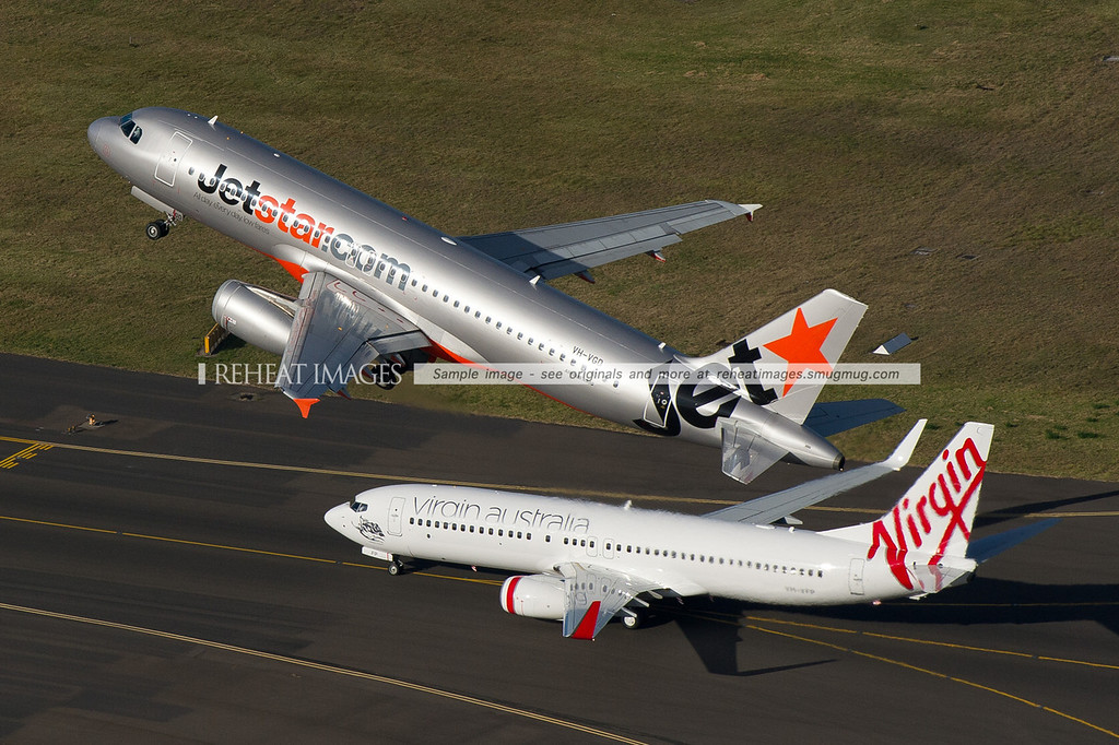 Jetstar Airbus and Virgin Australia Boeing