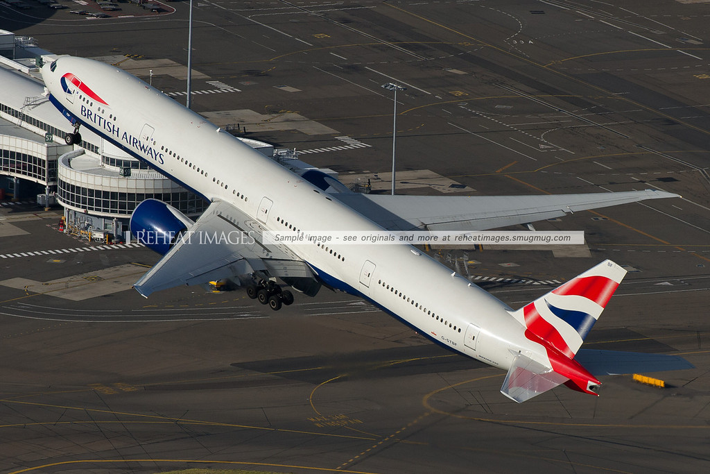 British Airways B777 takeoff from Sydney, aerial photo
