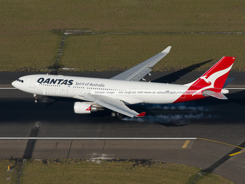Qantas A330-200 landing, Sydney Airport aerial photo