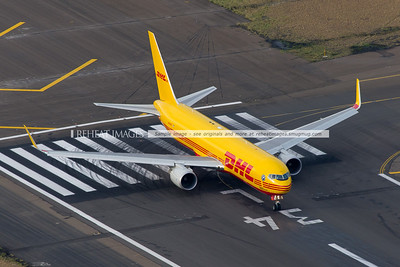 Polar Air Cargo DHL N644GT seen from the air at Sydney airport. About to commence takeoff.
