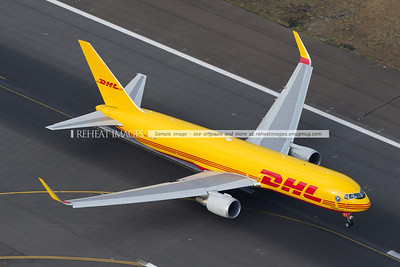 Polar Air Cargo DHL N644GT seen from the air at Sydney airport. Has commenced takeoff, and we are chasing it down the eastern side of the runway. It is here lifting off.