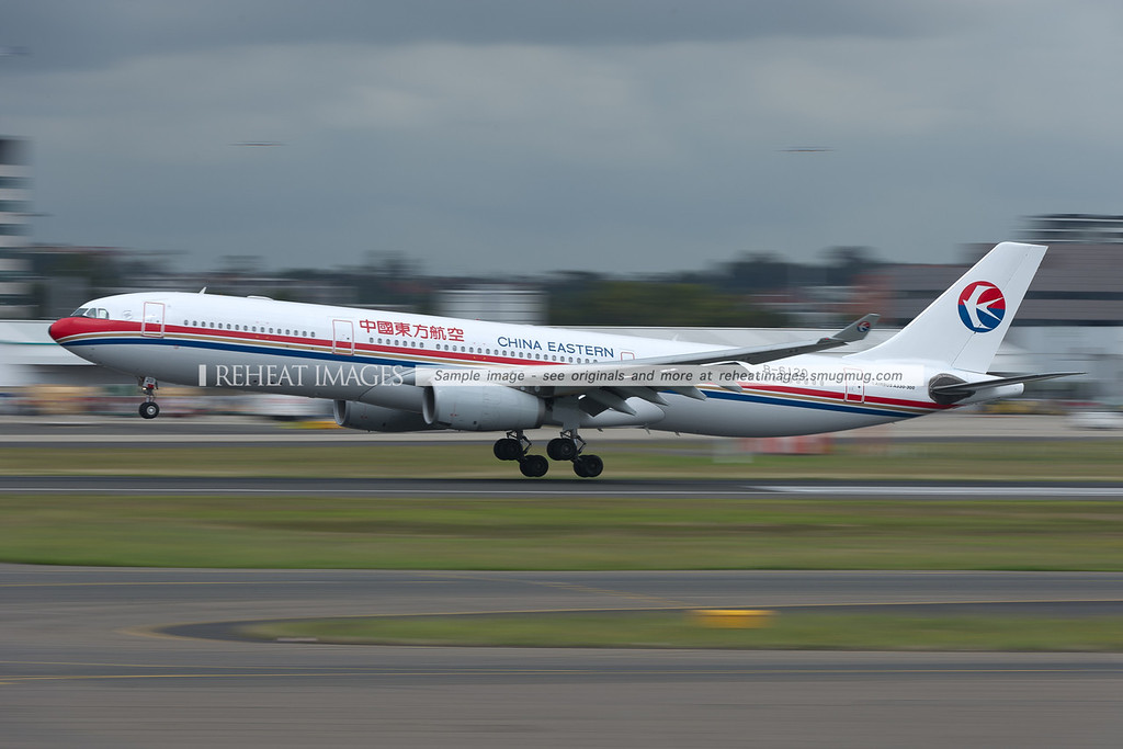 A China Eastern Airbus A330-300 lands at Sydney airport.