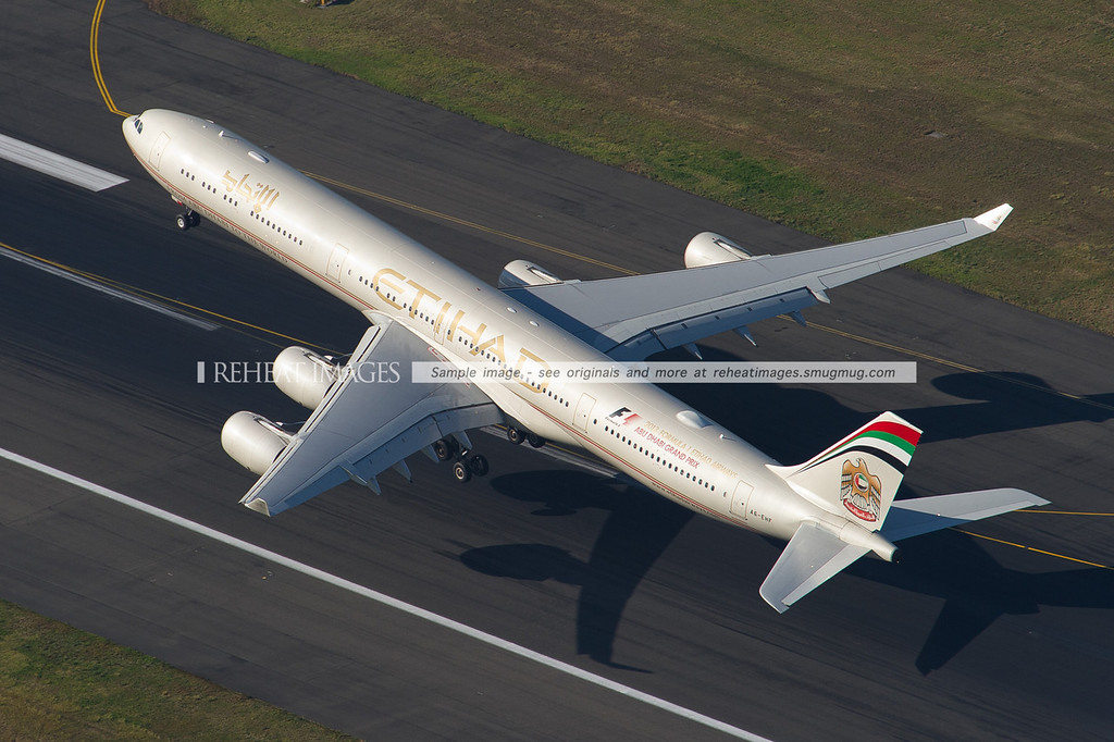Etihad's Airbus A340-600 is has lifted off from runway 34 left at Sydney airport, seen here from above.