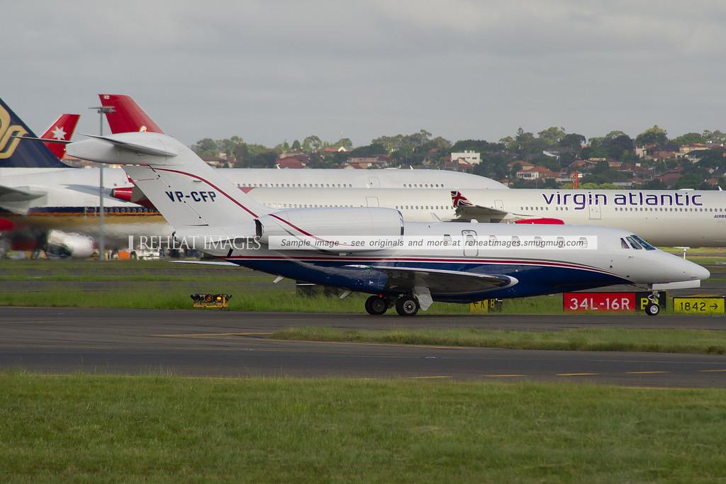 Cessna 750 Citation X arrives at Sydney airport.