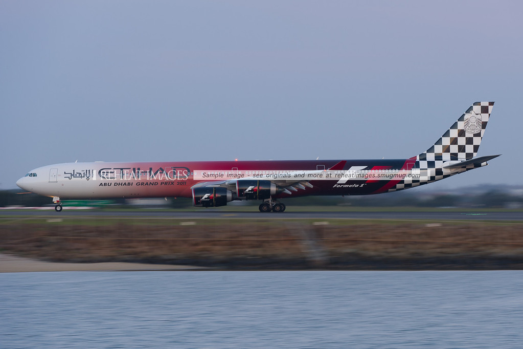 Etihad Airbus A340-642 A6-EHJ arrives in Sydney airport wearing its distinctive Formula 1 Abu-Dhabi Grand Prix 2011 colour scheme.