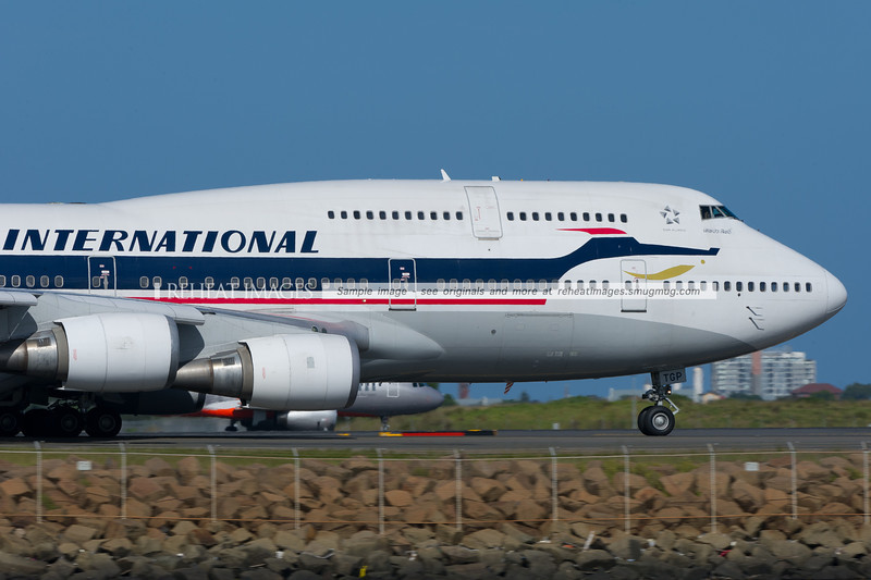 """""""Thai International"""" retro colours on this Boeing 747-400 with the registration HS-TGP."""