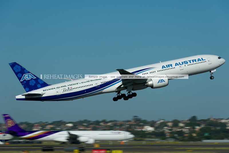 Air Austral Boeing 777-300/ER takes off from Sydney airport.