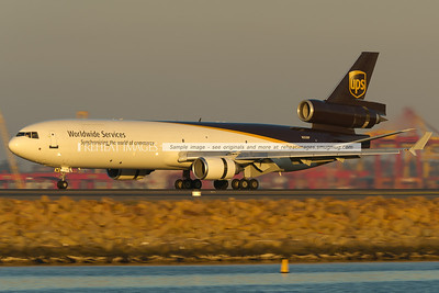 UPS MD-11F lands at Sydney airport.