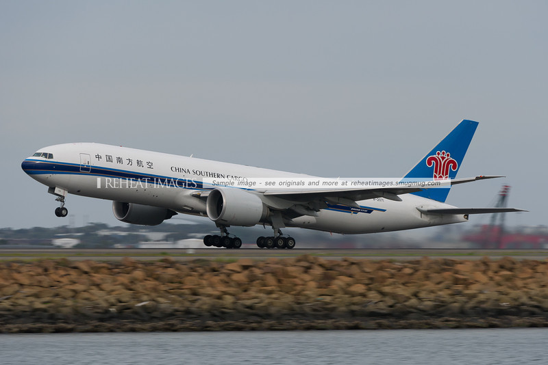 China Southern B777-F1B leaves Sydney airport