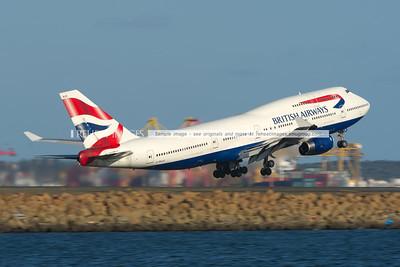 British Airways Boeing 747-436 leaves Sydney airport.