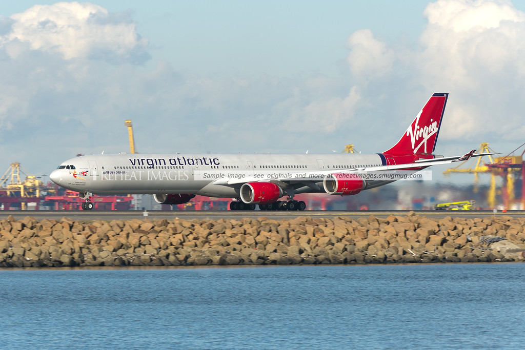 Virgin Atlantic A340-600 takes off from Sydney airport.