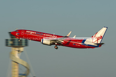 Virgin Blue Boeing 737 takes off from Sydney airport.