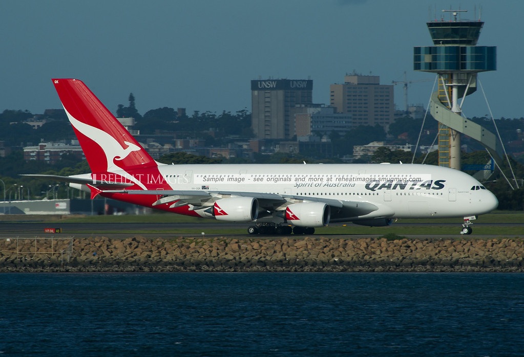 A Qantas Airbus A380-842 at Sydney airport.