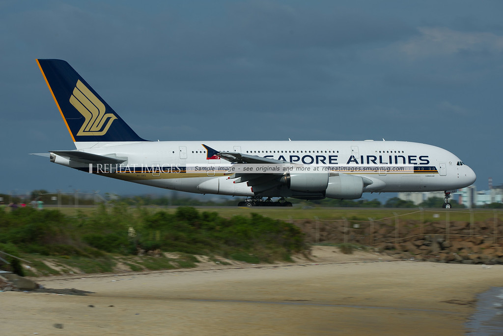 A Singapore Airlines Airbus A380-841 takes off from Sydney airport.