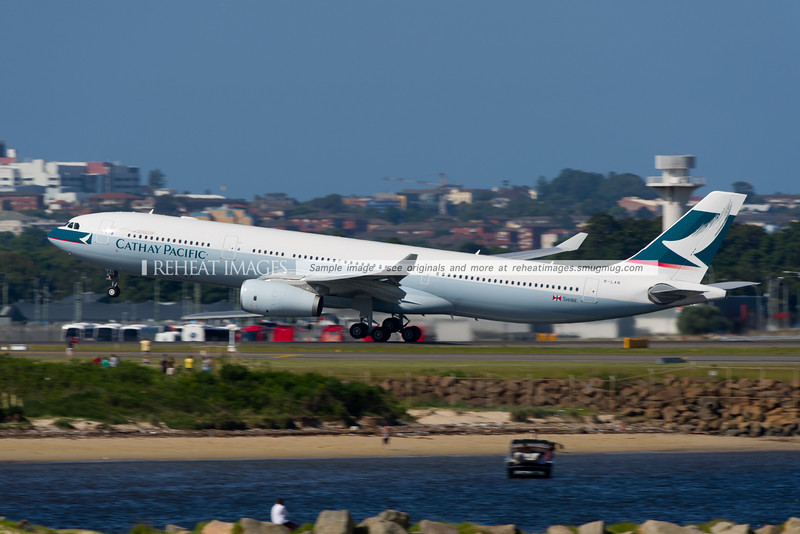 Cathay Pacific's newest (at time of writing) Airbus A330 leaves Sydney airport.