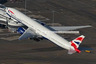 British Airways B777 takeoff from Sydney, aerial photo