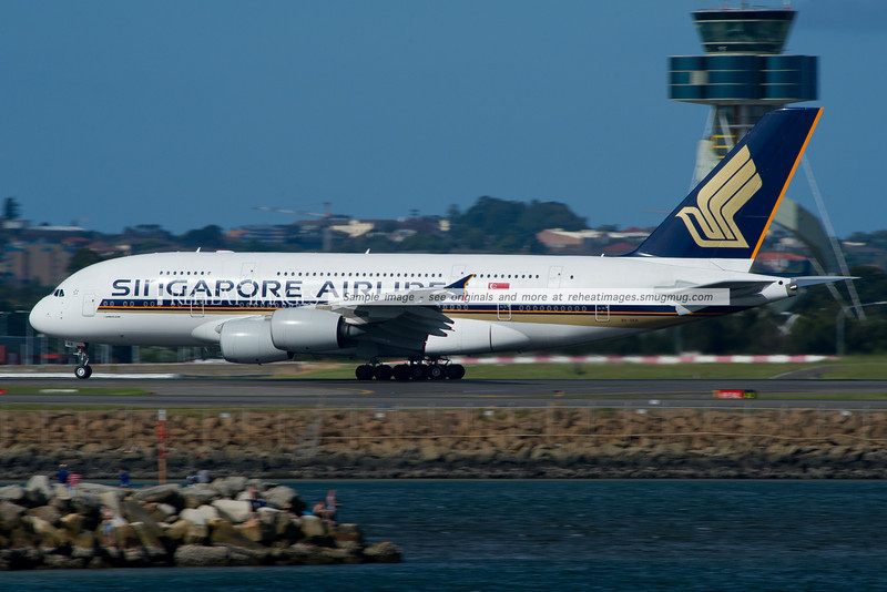 Singapore Airlines A380 Airbus leaves Sydney airport.