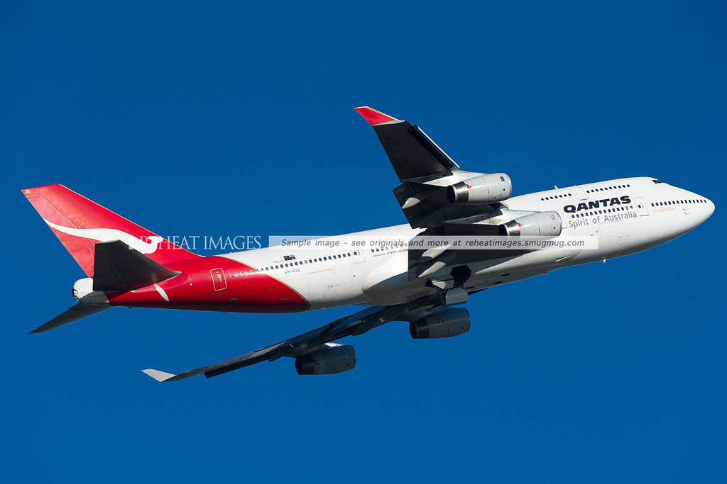 Qantas B747-438 VH-OJQ leaves Sydney headed from Brisbane on a positioning flight.