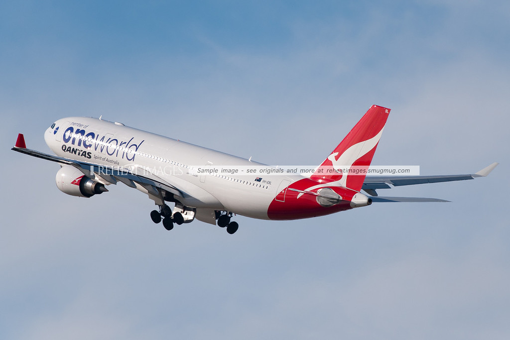 Qantas OneWorld Alliance A330-200 takes off from Sydney airport.
