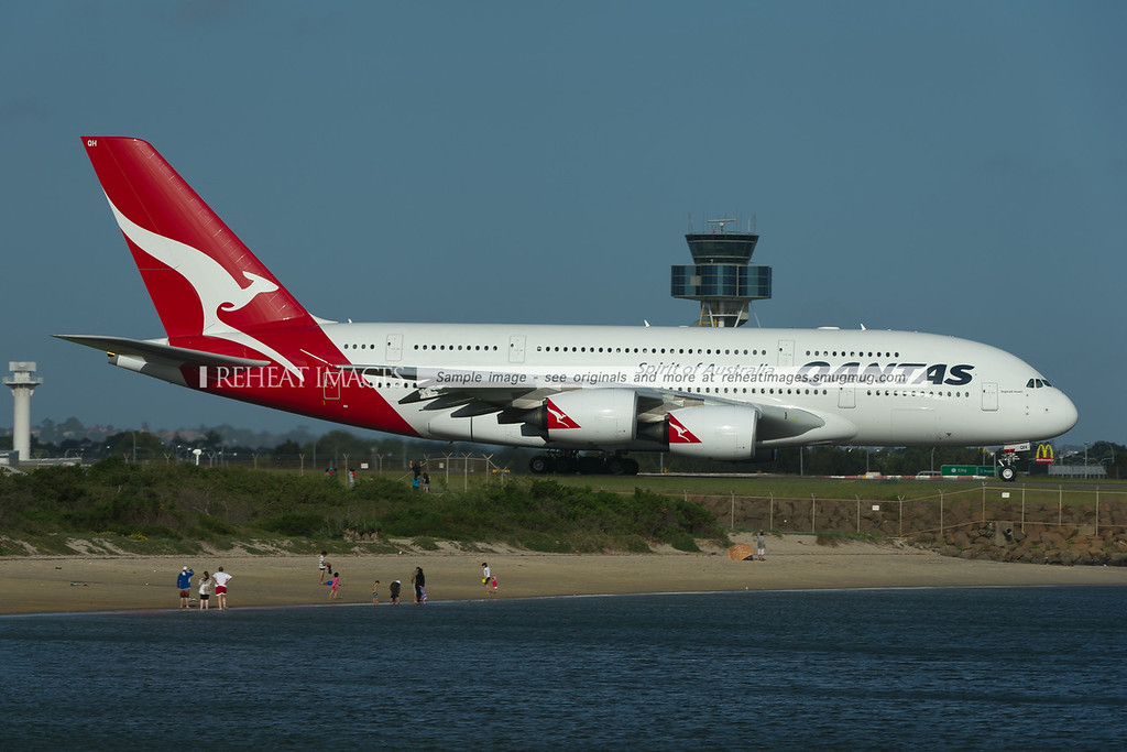 """""""Reginald Ansett"""" departs Sydney as QF31. The plane briefly wore new titles """"Spirit of Australians"""", though they were removed before this photo was taken."""