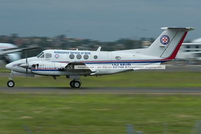 NSW Ambulance Service King Air is taxiing out for departure. It is a common sight at Sydney airport.